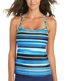 Look at this Jag Swim Black & Blue Coastline Stripe Tankini on #zulily today!