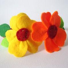 Cerchietto con fiore in pannolenci bambina/donna rosso, arancione e giallo