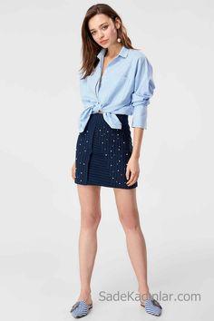 99a8db4737b06 Etek Gömlek Kombinleri 2019 Lacivert Kısa İşlemeli Etek Mavi Uzun Kollu  Bağcıklı Gömlek. EteklerKıyafetlerKızsal ŞeylerModaKısa Elbiseler
