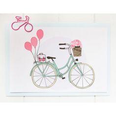 Charlotte and the teapot Carte postale à bicyclette c'est chouette