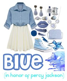 """Blue (In honor of Percy Jackson)"" by turtleloveraubrie ❤ liked on Polyvore featuring Dallas Prince, Stephen Dweck, Converse, Jessica Carlyle, Lime Crime, Gucci, Illamasqua, The Row and Thierry Mugler"