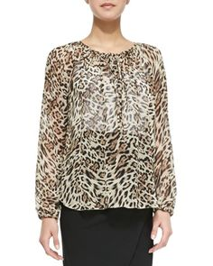 Neiman Marcus: L'Agence long sleeve leopard print blouse with drawstring front detail