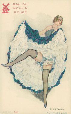 Maudelynn's Menagerie French Postcard advertising dancers at the Moulin Rouge Cabaret, Le Moulin Rouge Paris, Burlesque Vintage, Vintage Magazine, Vintage Photo Booths, Dancing Drawings, Old Paris, Retro Lingerie, Burlesque Costumes