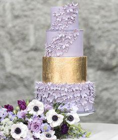 100 Pretty Wedding Cakes To Inspire You - Lavender + Gulded Gold Wedding cake ideas #weddingideas #weddinginspiration #weddingcake