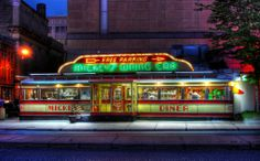 Art Deco Architecture: Mickey's Diner, St. Vintage Diner, Retro Cafe, Retro Diner, American Diner, American Restaurant, Diner Restaurant, Vintage Neon Signs, Drive In Theater, Restaurants