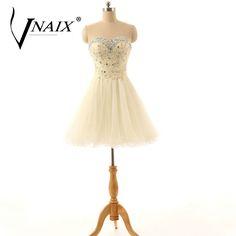 Vnaix C3003 Luxruy Sweetheart Beaded Corset A Line Mini Cocktail Dresses Bling Bling Plus Size Cheap robe de cocktail #Affiliate