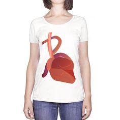 Camisetas ecológicas para mujer con escote redondo B corazon