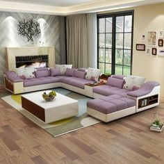 living room furniture modern U shaped leather fabric corner sectional sofa set design couches for living room with ottoman Corner Sofa Design, Corner Sofa Set, Living Room Sofa Design, Living Room Furniture, Living Room Designs, Classy Living Room, Living Room Modern, Living Room Sets, 7 Seater Living Room