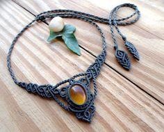 Collana di ambra del macramè, gioielli macramè, micro macramè, guarigione gioielli, collana boho, pietra macrame, collane pietre dure, gioielli di fata