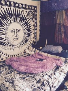 Black and White Sun Moon Tapestry Bohemian Tapestries