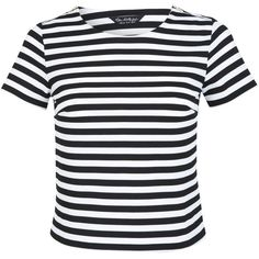 Miss Selfridge Striped Textured T-Shirt, Black/White
