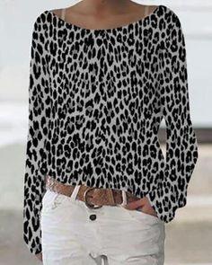 Cheetah Print Clothes, Leopard Print Outfits, Leopard Shirt, Leopard Print Shirts, Casual T Shirts, Casual Tops, Skins Clothing, Long Sleeve Tops, Long Sleeve Shirts