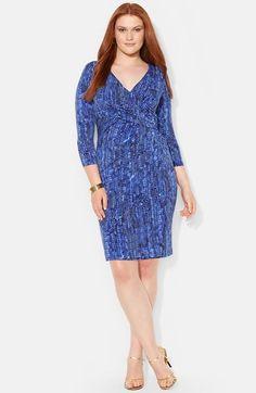 Lauren Ralph Lauren Print Jersey Faux Wrap Dress (Plus Size) available at #Nordstrom