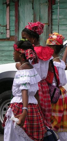 """Creole Week Dominica, by Celia Sorhaindo. Girls dressed in traditional """"wob dwiyet"""". We Are The World, People Around The World, Beret Rouge, Folk Costume, Costumes, Folklore, Les Seychelles, Caribbean Culture, Thinking Day"""