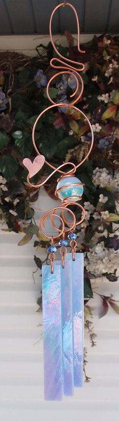 Heart Wind Chimes Copper Garden Art Sculpture Stained Glass Windchime Outdoor/Pond/Lawn/Yard