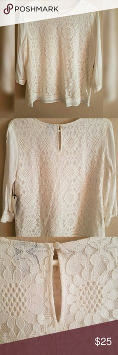 Stylus - Long sleeve Lace Blouse Ivory top with beautiful floral overlay pattern. Keyhole on the top back. End of sleeve has a simple pattern to it too.   -I will add that I feel like the size runs small, so if you're broader on your back like myself then it may be a little snug. Was given as a gift and too small for myself, just needs a new home. :) STYLUS Tops