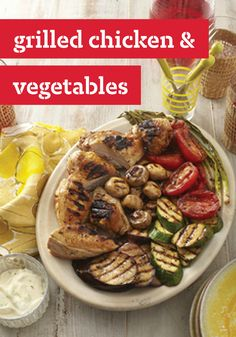 Grilled Chicken & Vegetables -- Celebrate the summer season with this delicious grilling recipe, perfect for outdoor barbecues and potlucks. Chicken And Veggie Recipes, Chicken And Vegetables, Vegetable Recipes, Veggies, Barbecue Recipes, Grilling Recipes, Slow Cooker Recipes, Grilling Ideas, Bbq Ideas