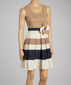 Another great find on #zulily! Beige & White Stripe Dress #zulilyfinds cute with some tights