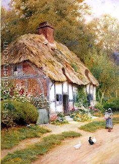 Arthur Claude Strachan:A Young Girl and Ducks by a Thatched Cottage