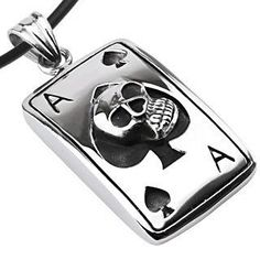 """#Mason Zone - #AceSpade_Skull_Dog Tag_PVC_Rope Stainless Steel - Ace of Spades Skull Dog Tag - with 18"""" PVC Rope - AdoreWe.com"""