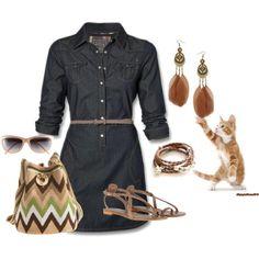 Denim & Brown Work Outfit