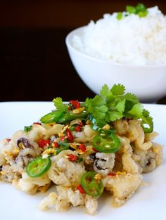 Salt and Pepper Squid with Steamed Rice