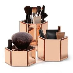 Mercer41™ Mirrored Glass Hexagon 3 Piece Jewelry Box Set Color: Rose Gold