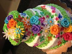 Handmade fondant flowers with butterflies cake :-)