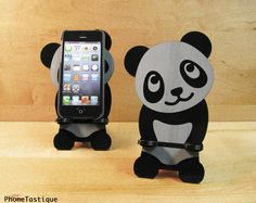 Adorable Panda iPhone Stand Docking Station For iPhone Dock for 4, 4S or 5 on Etsy, $24.00