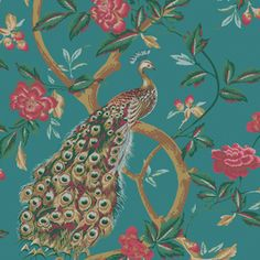 Enjoy The Wallpaper Company Shand Kydd 56 sq. Peacocks and Vines Wallpaper peacock wallpaper is made with a paper material and comes with a vinyl coating for added durability from The Home Depot Peacock Wallpaper, More Wallpaper, Bathroom Wallpaper, Wallpaper Samples, Pattern Wallpaper, Wallpaper Pictures, Wallpaper Backgrounds, Wallpaper Companies, Classic Wallpaper