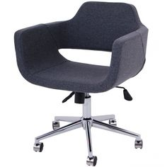 Minetta Office Chair In Charcoal Wool   Memoky.com