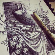 Darkowl #owl #ink #drawing #artwork #pen #illustration #sakura #micron #fikipurnama #dark