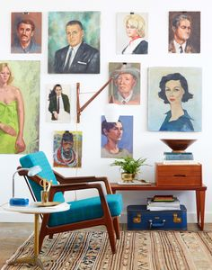 Wall of collected portraits