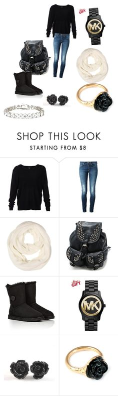 """""""Cute winter outfit to stay warm?"""" by itsyofavbabymaci ❤ liked on Polyvore featuring Scoop, Dondup, UGG Australia, Michael Kors, LeiVanKash and Kenneth Jay Lane"""