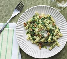 Pasta With Kale and Walnut Pesto | In celebration of National Vegetarian Month, which begins October 1, we've compiled an entire month of dinners, so you won't even have to think about what's on the menu.