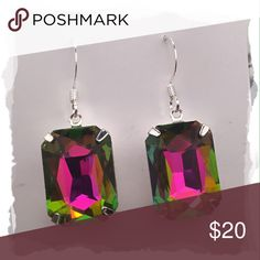 """Faceted Crystal Earrings - Handmade!! Faceted, rectangular, crystal earrings set in silver backings. This gorgeous color is called """"vitrail"""". It flashes pink, purple, blue, green, and gold...making it a dynamic earring that can be paired with nearly any outfit and color! Jewelry Earrings"""