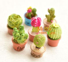 Lot-of-7-PCS-1-12-Dollhouse-Miniature-Toy-Resin-Plant-Floral-Cactus-height-3-4CM