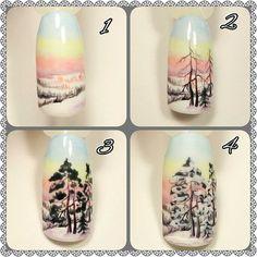 "#nailarttutorial МАНИКЮР: уроки и МК (@nails_by_steps) on Instagram: ""@ludmila_starkova_ - Рисование природы, с детства, мой любимый жанр. Поэтому остановиться в…"" Winter Nail Designs, Winter Nail Art, Cool Nail Designs, Winter Nails, Love Nails, Pretty Nails, My Nails, Monogram Nails, Nail Art Noel"