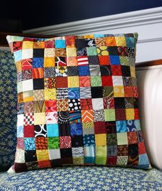Postage stamp patchwork pillow