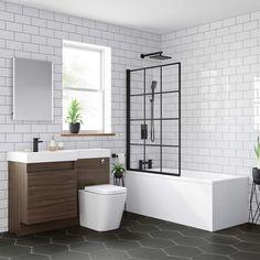 Looking for a black bath screen? Our Shoji Crittall style black bath screen will make you feel like you're showering in a 5 star hotel! Bathroom Styling, Bathroom Interior Design, Modern Bathroom, Small Bathroom, Attic Bathroom, Master Bathroom, Bath Shower Screens, Wet Room Shower, Crittall