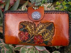 Women Wallet / Custom / Desert Rose / Oak Leaves / Horse / Western / Ladies / Leather / Clutch Wallet / Hand Tooled and Carved / Hand Made