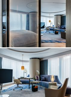 In this modern hotel room, floor-to-ceiling windows wrap around this suite creating the effect of a circular-like room that is big and open..