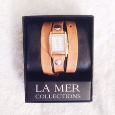 """Tobacco Washed Leather Wrap Watch Tobacco washed leather wrap watch with gold plated rivet details. 22"""" long and .5"""" wide strap & gold plated buckle closure. Nickel free. La Mer Jewelry"""