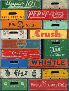 vintage soda crates - I'll take the Royal Crown Cola one - my husband would love it. Cageots Vintage, Clock Vintage, Vintage Crates, Images Vintage, Wooden Crates, Vintage Signs, Vintage Antiques, Wooden Boxes, Vintage Graphic