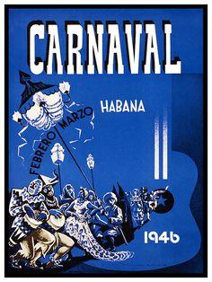 La Havane Cuba Art Print Carnaval voyage Vintage par Blivingstons