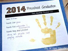 Preschool graduation certificate - Stay At Home Educator
