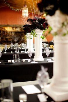 feathers, vintage wedding, wedding arrangements, wedding centerpiece, wedding flowers, silk flowers, www.afloral.com