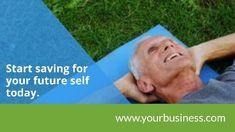 Saving retirement pension modern video template, man lies down 'start saving for you future self today'
