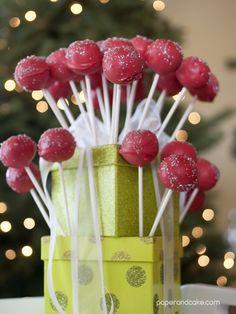 "paper and cake ""gift box"" cake pop display"