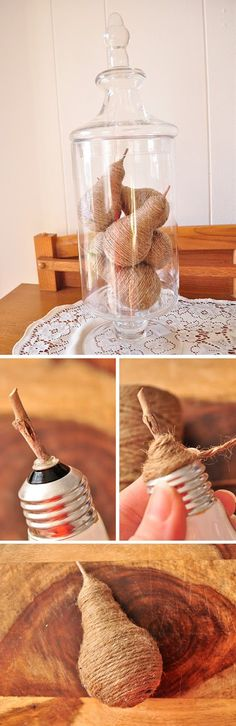 Reuse Old Light Bulbs to Make Beautiful Pears